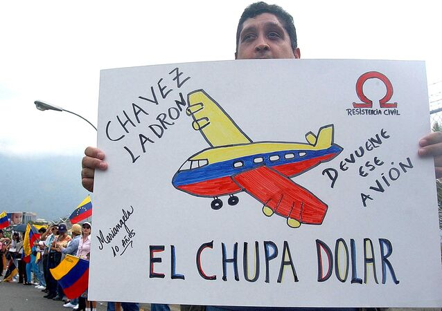 Demonstrators in front the air base in Carlota, Caracas protest the purchase of a presidential airplane for Venezualen president Hugo Chavez