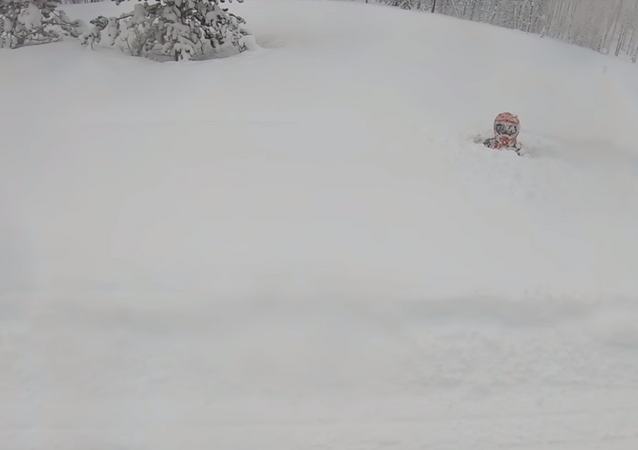 Deceptive Snow Mound Brings Snowmobiler to Abrupt Halt