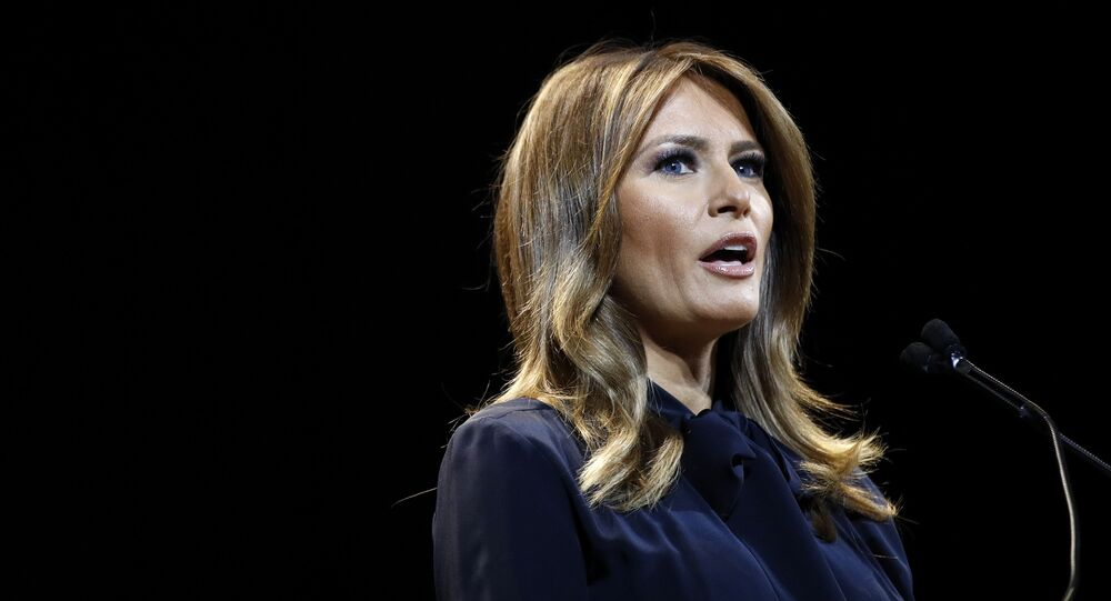 First lady Melania Trump speaks before participating in a town hall on the opioid epidemic with moderator Eric Bolling in Las Vegas, Tuesday, March 5, 2019, during a two-day, three-state swing to promote her Be Best campaign