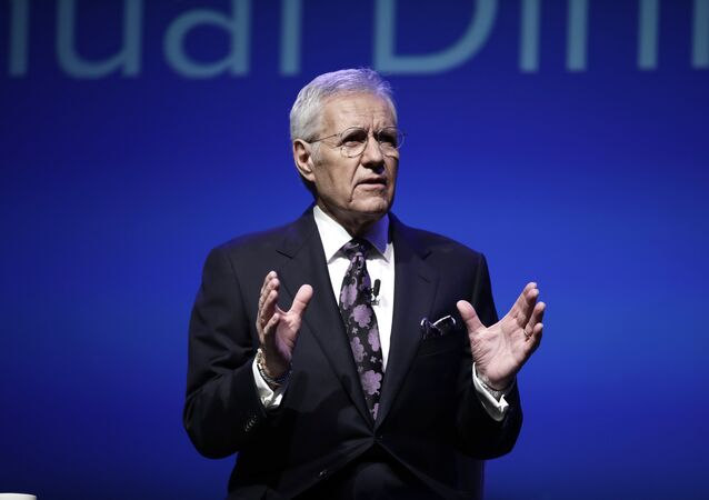 In this Oct. 1, 2018, photo, moderator Alex Trebek speaks during a gubernatorial debate between Democratic Gov. Tom Wolf and Republican Scott Wagner in Hershey, Pa. Jeopardy! host Trebek says he has been diagnosed with advanced -four pancreatic cancer. In a video posted online Wednesday, March 6, 2019, Trebek said he was announcing his illness directly to Jeopardy! fans in keeping with his long-time policy of being open and transparent.