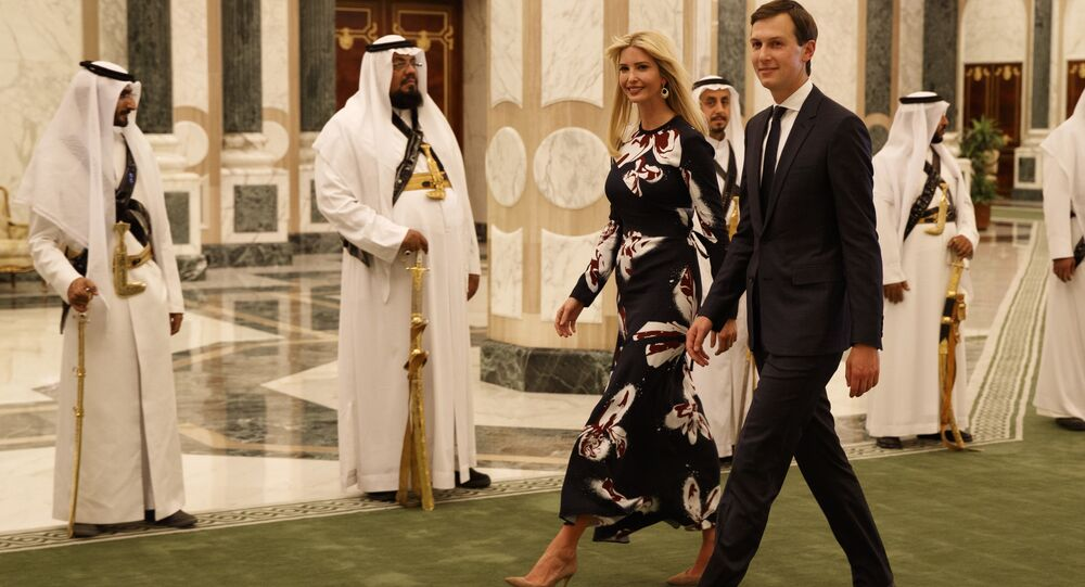 In this Saturday, May 20, 2017, file photo, White House senior adviser Jared Kushner, right, walks with Ivanka Trump at the Royal Court Palace, in Riyadh, Saudi Arabia.