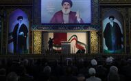 Hezbollah leader Sayyed Hassan Nasrallah delivers a live broadcast speech, during a rally to commemorate the 40th anniversary of Iran's Islamic Revolution, in southern Beirut, Lebanon, Wednesday, 6 February 2019