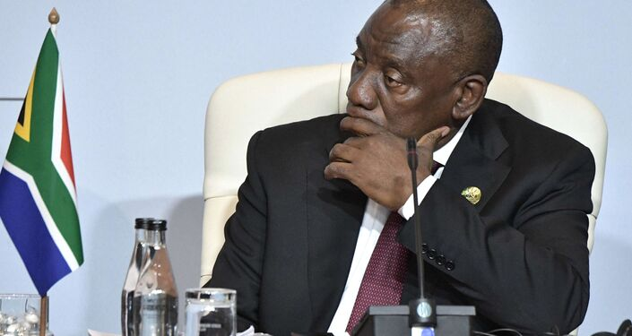 South African President Cyril Ramaphosa at a BRICS group of country meeting in July 2018. File photo.