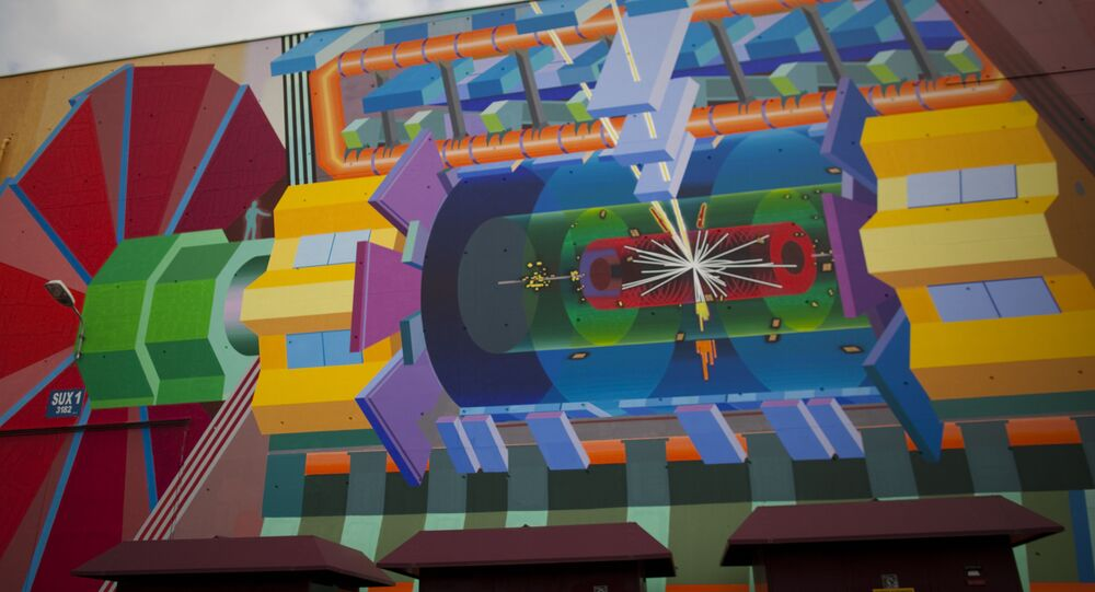 a painting at CERN depicting how how a Higgs boson (referred to colloquially as the God Particle) may appear