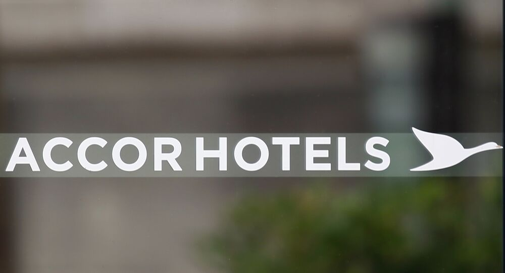 The logo sign of Accor Hotels, a French multinational hotel group, part of the CAC 40 index, which operates in 95 countries, is pictured in Paris Friday Sept. 8, 2017.