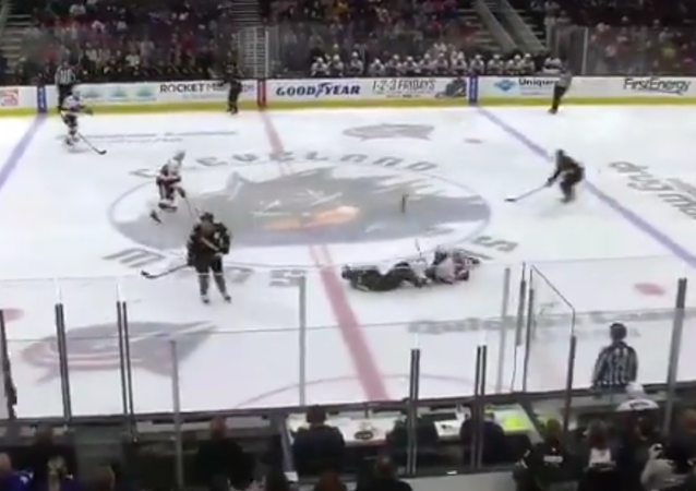 Collision During Game Between Cleveland Monsters and Belleville Senators