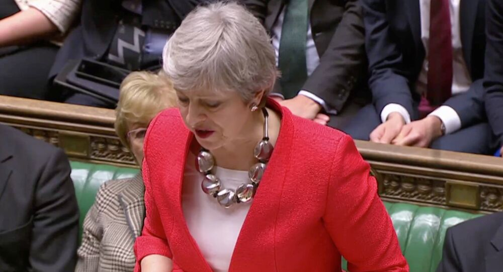 British Prime Minister Theresa May speaks after tellers announced the results of the vote Brexit deal in Parliament in London, Britain, March 12, 2019, in this screen grab taken from video.