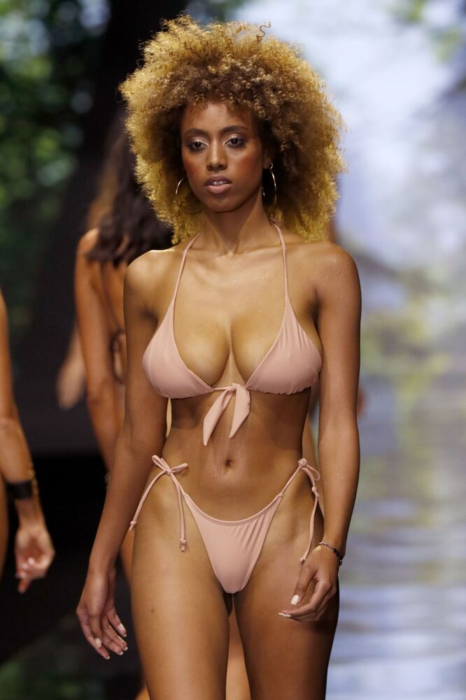 Model Wearing Swimsuit Presents a Creation by Israeli Designer Bananhot During the Tel Aviv Fashion Week