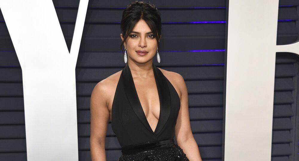 Priyanka Chopra arrives at the Vanity Fair Oscar Party on Sunday, Feb. 24, 2019, in Beverly Hills, Calif.