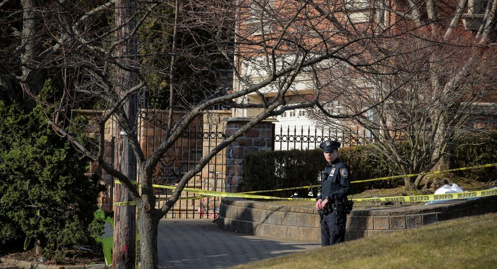 New York City Police (NYPD) officer is seen at the scene where reported New York Mafia Gambino family crime boss, Francesco Franky Boy Cali, was killed outside his home in the Staten Island borough of New York City, U.S., March 14, 2019.