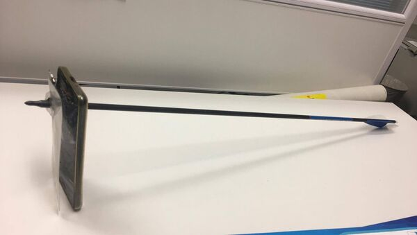 A picture shows an arrow that pierced a mobile telephone after accident in Nimbin, Australia March 13, 2019 in this picture obtained from social media on March 14, 2019. - Sputnik International