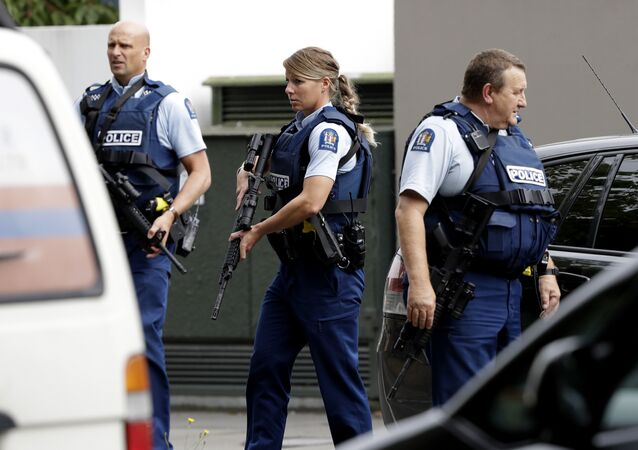 Armed police patrol outside a mosque in central Christchurch, New Zealand, Friday, 15 March , 2019