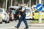 Armed police following a shooting at the Al Noor mosque in Christchurch