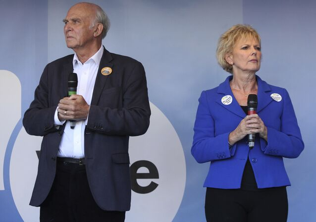 Liberal Democrat leader Vince Cable, pictured with former Conservative MP and Remainer Anna Soubry at a People's Vote event