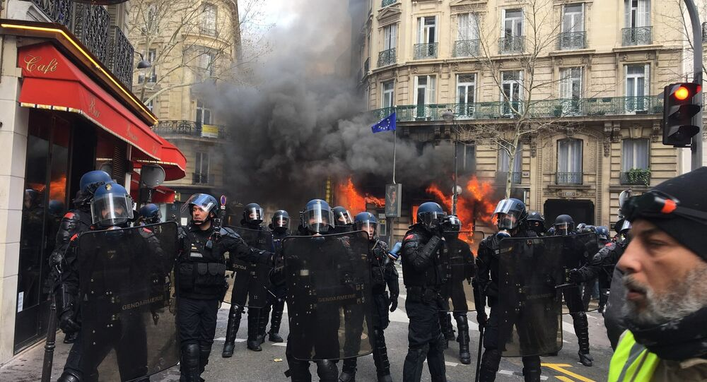 Bank set on fire in Paris during Yellow Vests protest in Paris on 16 March