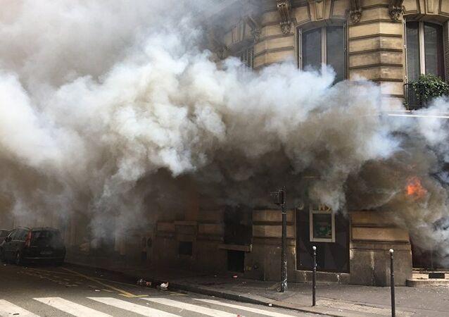 Burning bank in Paris.