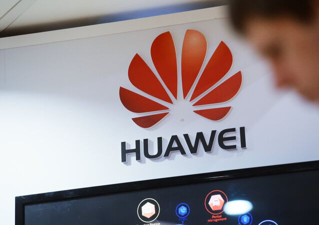 Huawei display at a telecommunications industry expo, file photo.