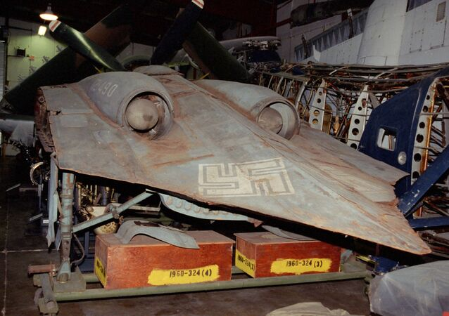 The last surviving Horten Ho 229 airframe, pictured here at the Smithsonian museum's storage facility.