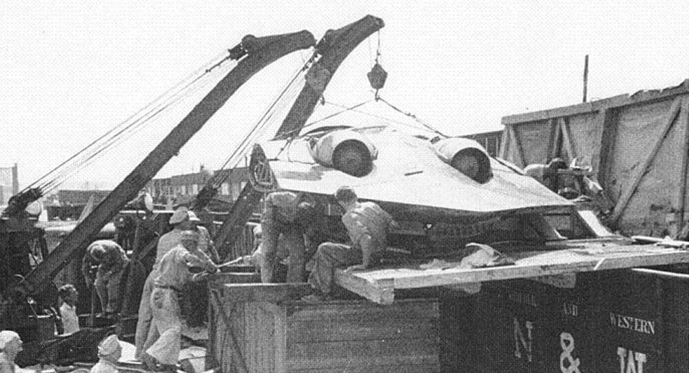 Horten Ho 229 being unloaded after making it into the hands of the US military.