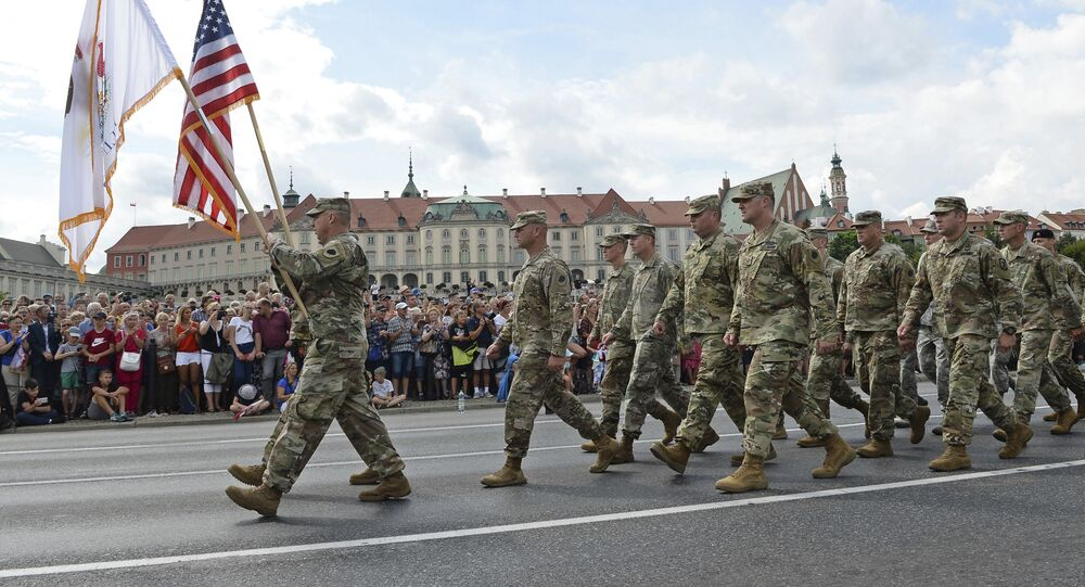 US Army soldiers take part in an annual military parade celebrating Polish Army Day in Warsaw, Poland