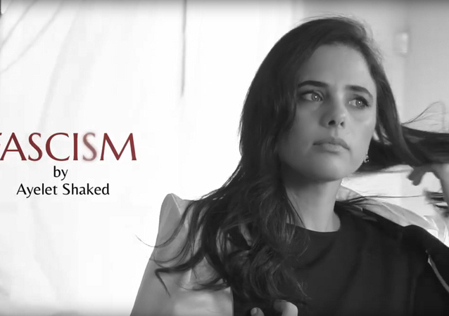 Israeli Justice Minister Ayelet Shaked in a campaign ad mimicking a perfume ad for fascism perfume