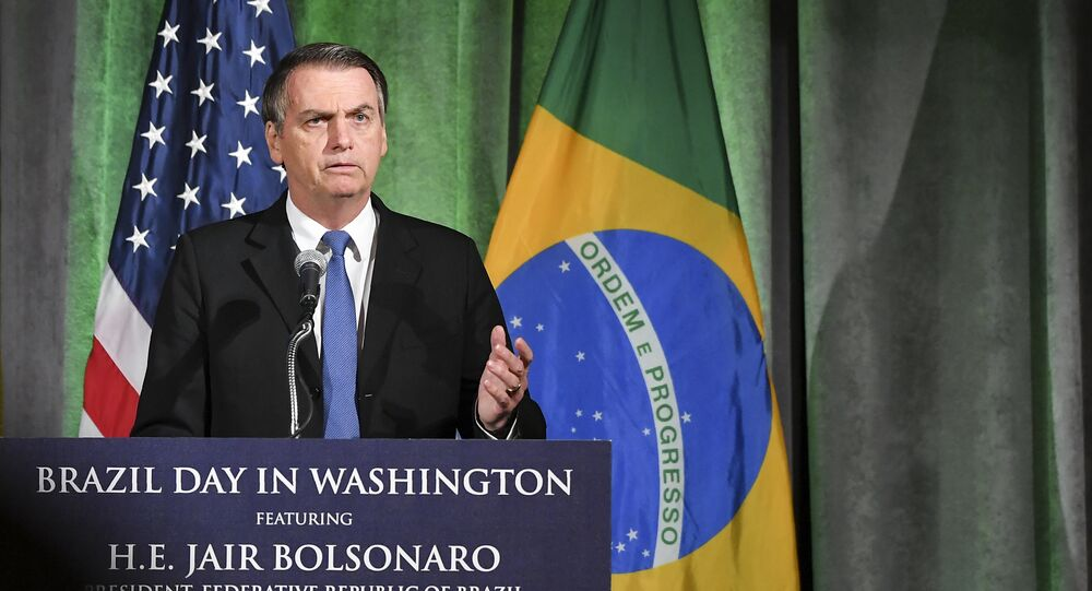 Brazil's President Jair Bolsonaro speaks during a discussion on US-Brazil relations at the US Chamber of Commerce in Washington, DC on March 18, 2019.