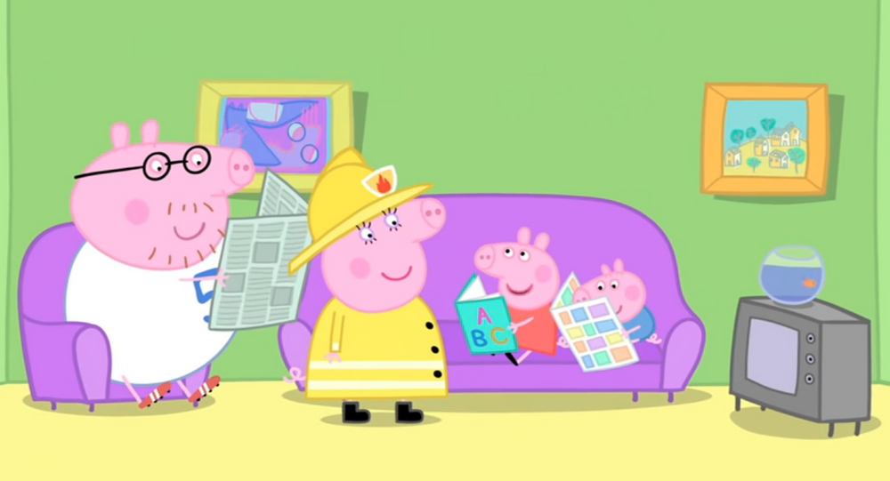 A screen grab from the 2009 Peppa Pig episode The Fire Engine.