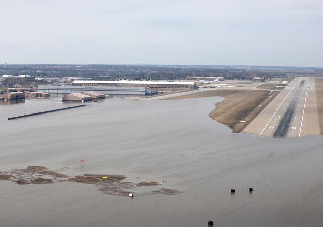 Offutt Air Force Base and the surrounding areas affected by flood waters