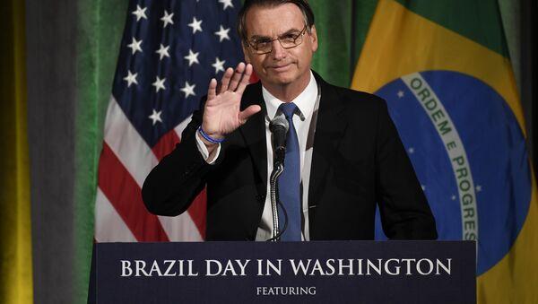 Brazilian President Jair Bolsonaro speaks at the Chamber of Commerce in Washington, Monday, March 18, 2019. - Sputnik International