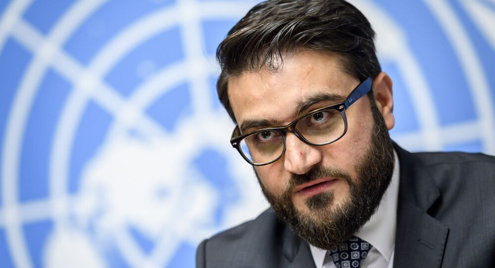 National Security Adviser Hamdullah Mohib attends a press conference closing a two-day United Nations Conference on Afghanistan in Geneva.