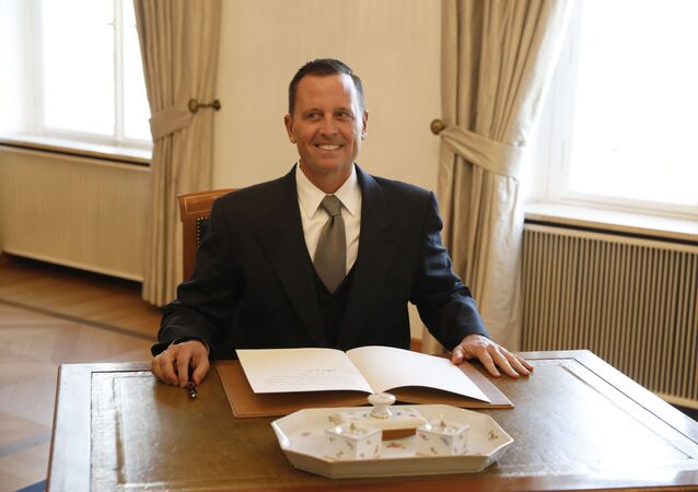 (FILES) This file photo taken on May 8, 2018 shows then newly accredited US Ambassador to Germany Richard Grenell after he signed his letter of accreditation during an accreditation ceremony for new Ambassadors in Berlin, Germany.