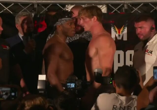 Ksi Vs Logan Paul Face off during the official weigh in