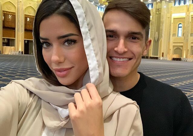Denis Suarez, Nadia Aviles at the Grand Mosque, Kuwait
