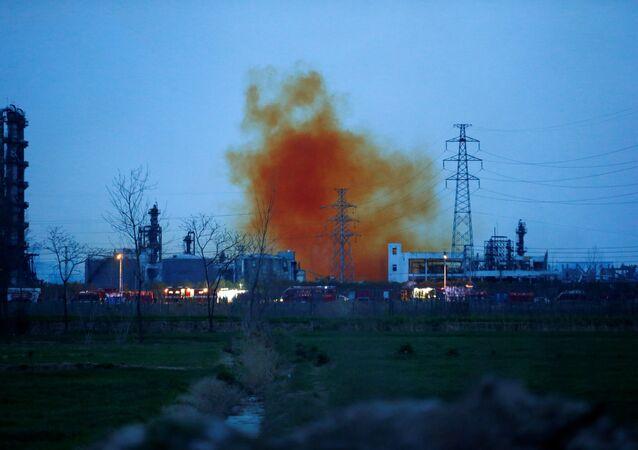 Smoke billows from the pesticide plant owned by Tianjiayi Chemical following an explosion, in Xiangshui county, Yancheng, Jiangsu province, China March 22, 2019.