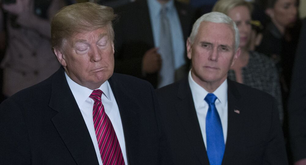 President Donald Trump gives his State of the Union address to a joint session of Congress, Tuesday, Feb. 5, 2019 at the Capitol in Washington, as Vice President Mike Pence, left, and House Speaker Nancy Pelosi look on.