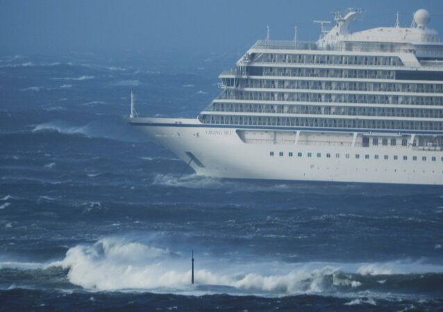 A cruise ship Viking Sky drifts towards land after an engine failure, Hustadvika, Norway March 23, 2019.