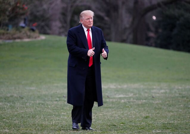 U.S. President Donald Trump reacts as he returns to the White House after U.S. Attorney General William Barr reported to congressional leaders on the submission of the report of Special Counsel Robert Mueller in Washington, U.S., March 24, 2019