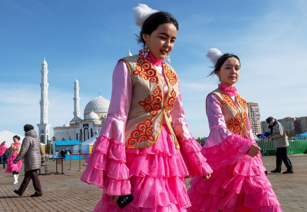 Girls Wearing a National Outfit During Celebrations of Nowruz at Independence Square in Nur-Sultan