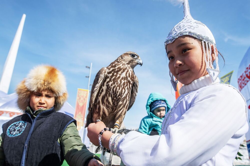 Girl Wearing National Outfits During Celebrations of Nowruz at Astana Expo in Nur-Sultan