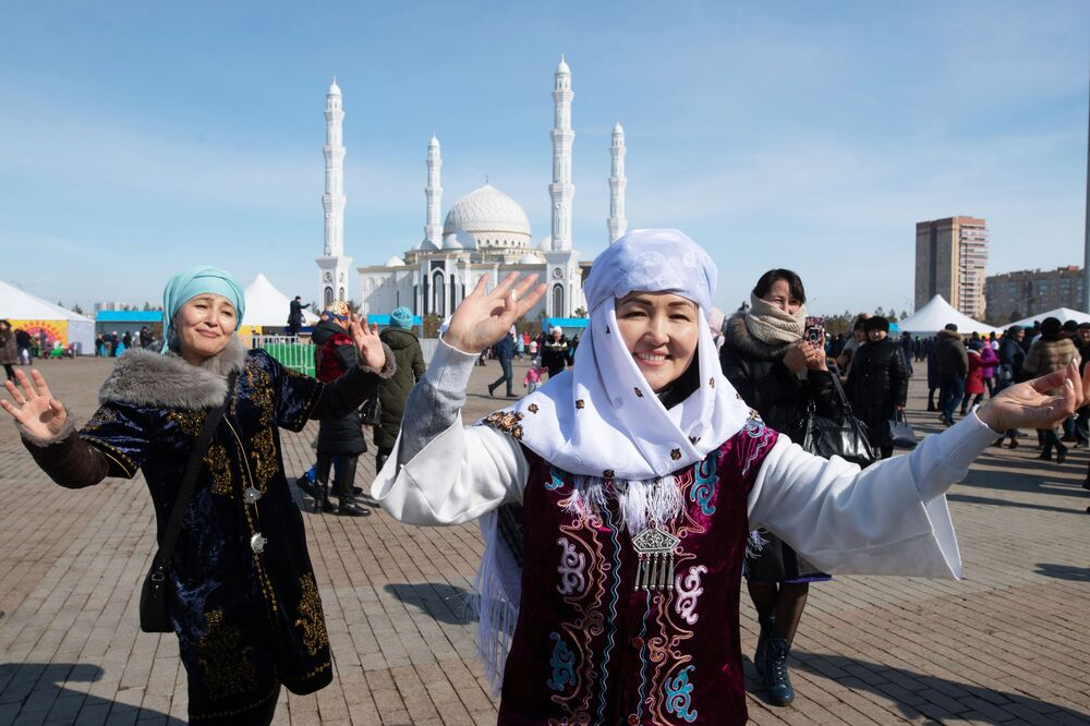 During Celebrations of Nowruz at Independence Square in Nur-Sultan