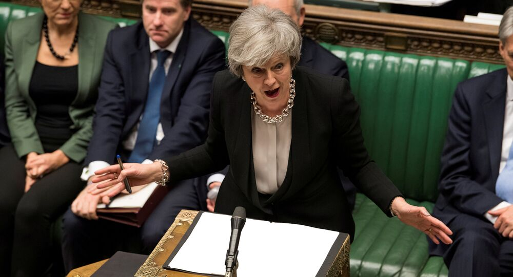 Britain's Prime Minister Theresa May speaks during a debate on her Brexit 'plan B' in Parliament, in London, Britain, January 29, 2019