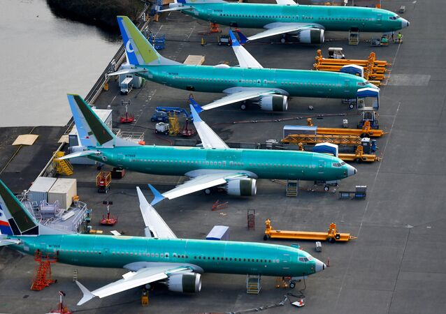 An aerial photo shows Boeing 737 MAX airplanes parked at the Boeing Factory in Renton, Washington, U.S. March 21, 2019