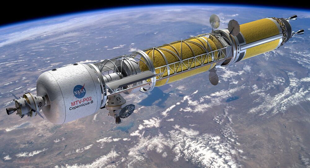 Artist's rendering of a Bimodal Nuclear Thermal Transfer Vehicle Copernicus in LEO