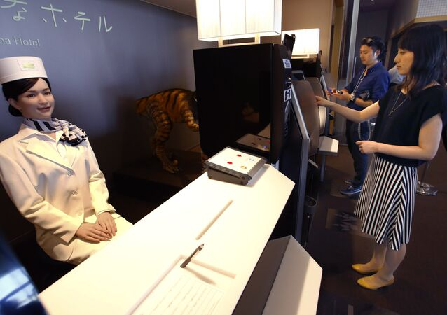 The Henn-na Hotel in Tokyo (pictured) is staffed entirely by robot staff