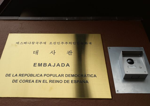 A view of North Korea's embassy in Madrid, Spain, Thursday, Feb. 28, 2019.