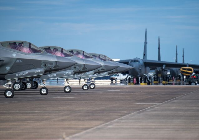 F-35 Lightning aircraft from Eglin Air Force Base, Fla., prepare for takeoff at Barksdale Air Force Base, La., Oct. 12, 2018. The aircraft evacuated to Barksdale to avoid possible damage from Hurricane Michael.