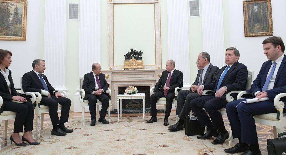 Russian President Vladimir Putin and his Lebanese counterpart, Michel Aoun