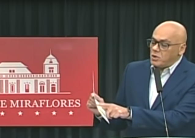 "Venezuelan Communications Minister Jorge Rodriguez presents evidence of ""ultra-right plans to promote regime change involving key Venezuelan opposition leaders such as Juan Guaido, Roberto Marrero, and Leopoldo Lopez"
