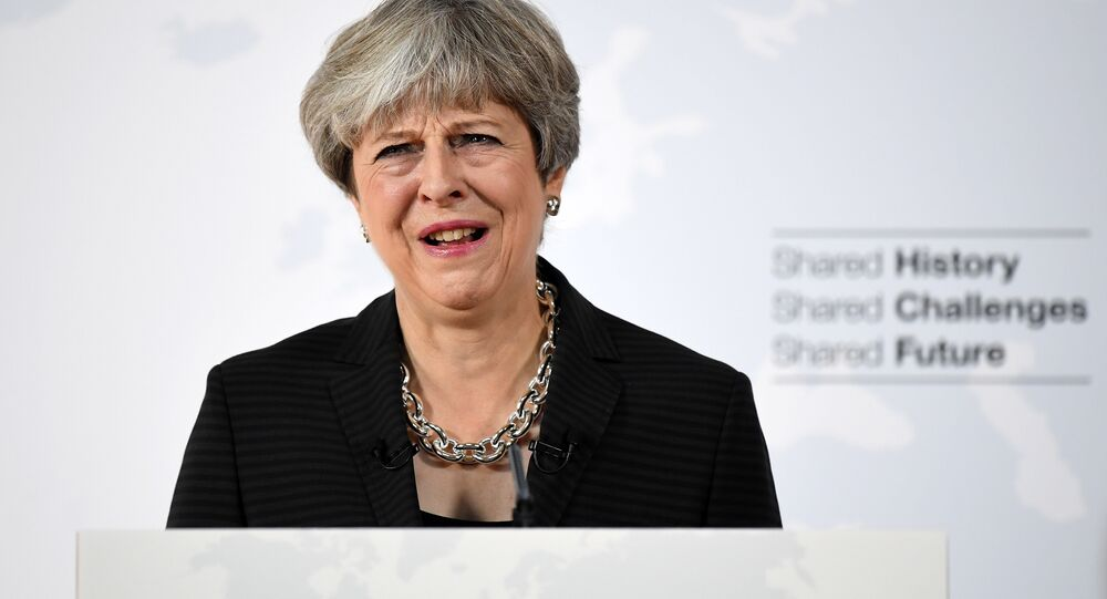 Britain's Prime Minister Theresa May delivers her Brexit speech at the Complesso Santa Maria Novella in Florence, Italy on September 22, 2017