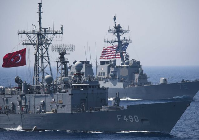 The Turkish G-Class frigate TCG Gaziantep is underway in formation USS Donald Cook (DDG 75)